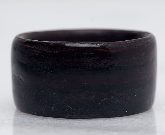 Black ebony engagement ring for mens -  A personalized recycled wood promise ring - Handcrafted in Montréal