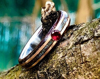 Red ruby and silver line promise women ring with turquoise and double gold inlay
