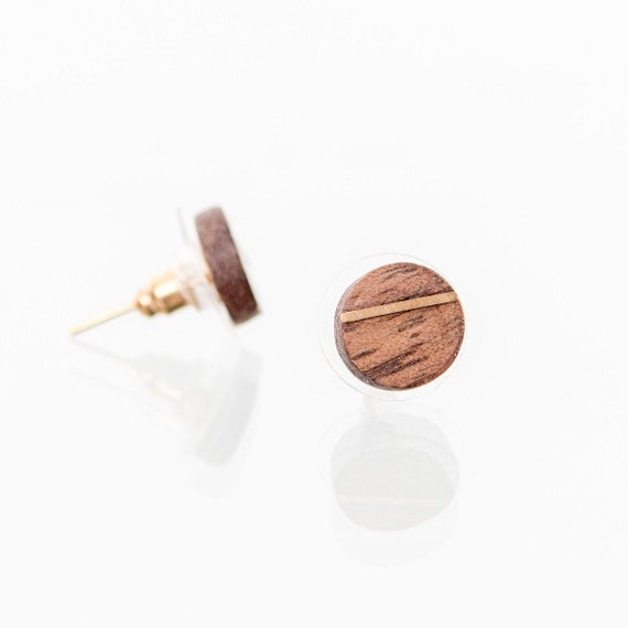Wooden stud earrings with gold inlay. Handcrafted recycled wood earring studs. Minimalist round stud earrings