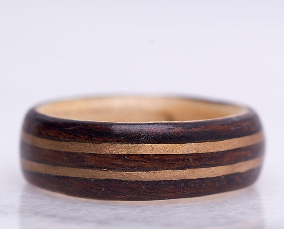 Handcrafted recycled wood engagement ring, A perfect men wedding band inlaid with gold. Personalized gift for Valentine's day