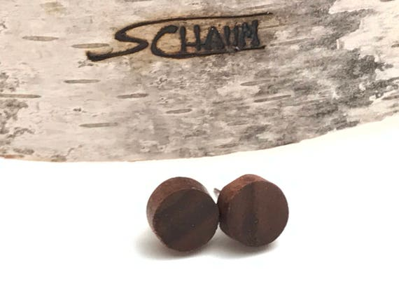 Handcrafted wood stud earrings. Recycled wood earring studs for men and women. Perfect personalized gift. Handmade in Canada