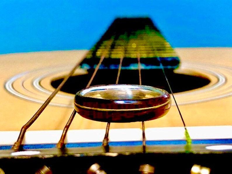 Guitar String Ring Recycled Wood Wedding Ring Man Wedding image 0