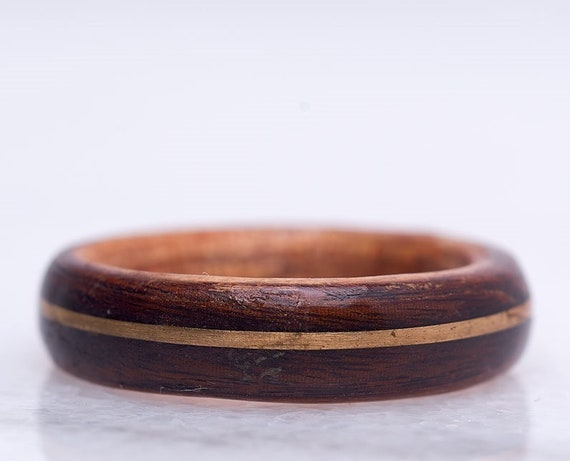 Women recycled wood and 14K yellow gold engagement ring