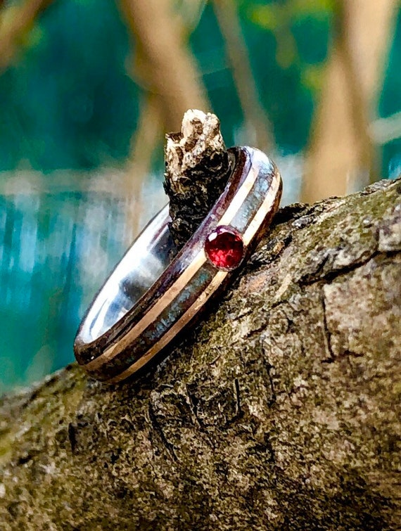 Red ruby engagement ring - Silver line promise ring with turquoise and double gold inlay - A women silver ring handmade in Montréal