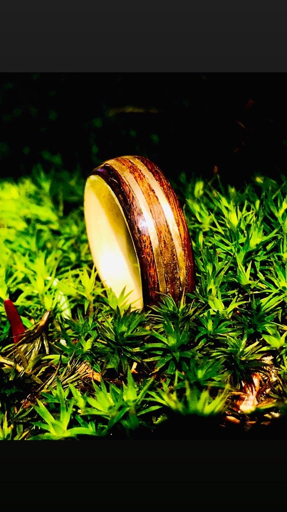 Men's Wedding Bands Special offer Valentine's day rings : handcrafted wood ring inlaid with gold. personalized gift ring handmade in Canada