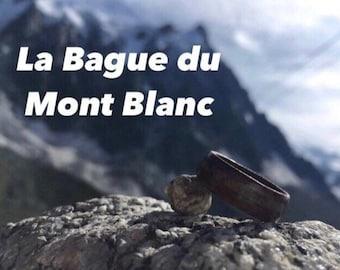 Black ebony and white quartz couple engagement ring handmade in Montréal