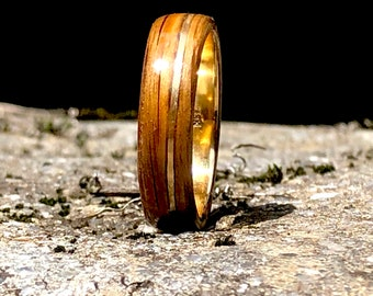 Gold Ring 18K, Mens engagement ring in whiskey barrel wood inlaid with 18k yellow gold, ring for wedding, Mens Wedding Bands,Engagement Ring