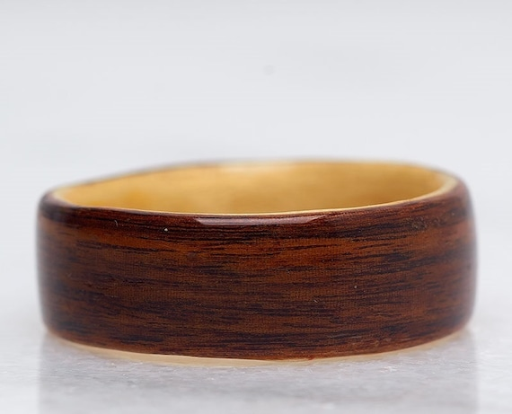 Wood Wedding Band 5th anniversary ring  Recycled rosewood and maple wood ring from Canada - Personalized love ring - Handcrafted in Montréal