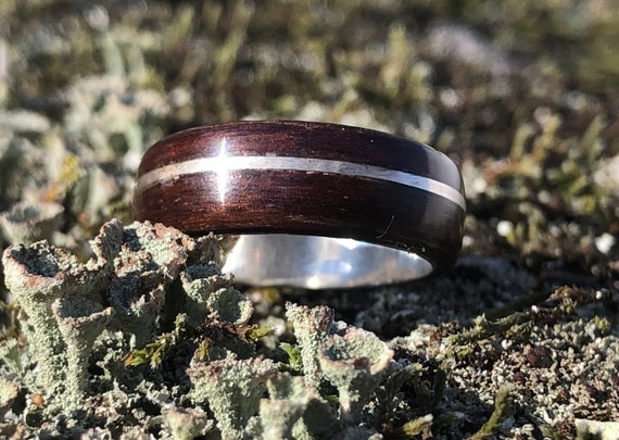 Handcrafted ebony wood ring, A minimalist wedding band. Personalized gift for Valentine's day, wooden silver jewelry from Canada