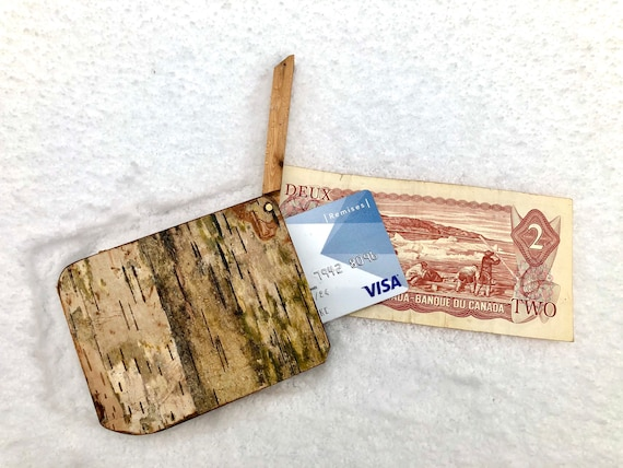 Wooden Wallet with Gold 14K Inlay, Handmade in Quebec, Abenaquis Wallet, White Birch, Card Holder
