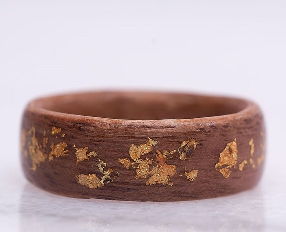 Handcrafted recycled wood engagement ring, An original band with 14k gold leaf ring. Personalized Valentine's day gift, handmade in Canada