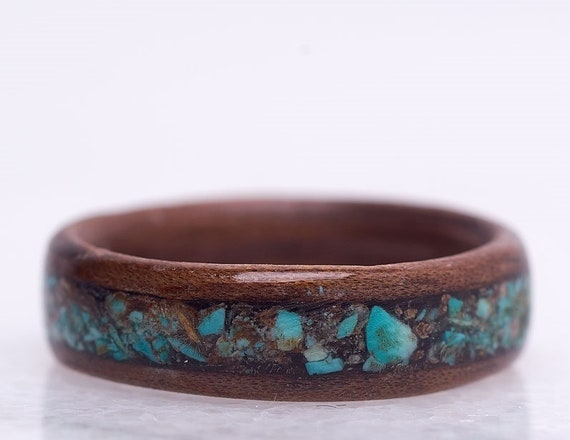 Personalized engagement ring - A turquoise gemstone and recycled wood ring -  Environmentally responsible wedding ring handmade in Canada