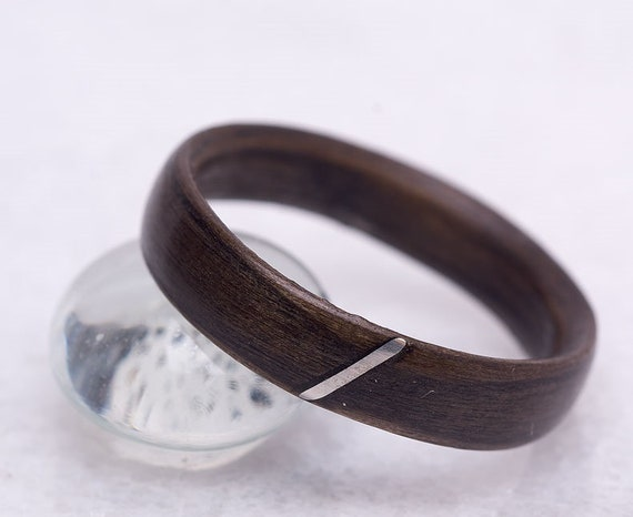 Handcrafted eco friendly wood ring. Minimalist wood and silver promise ring. Personalized Valentine's day gift, silver jewelry from Canada