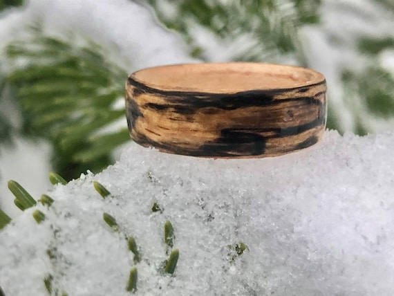 Splated Maple wood engagement ring for men or women. Handcrafted ring made of zebrano wood. Men promise ring handmade in Canada