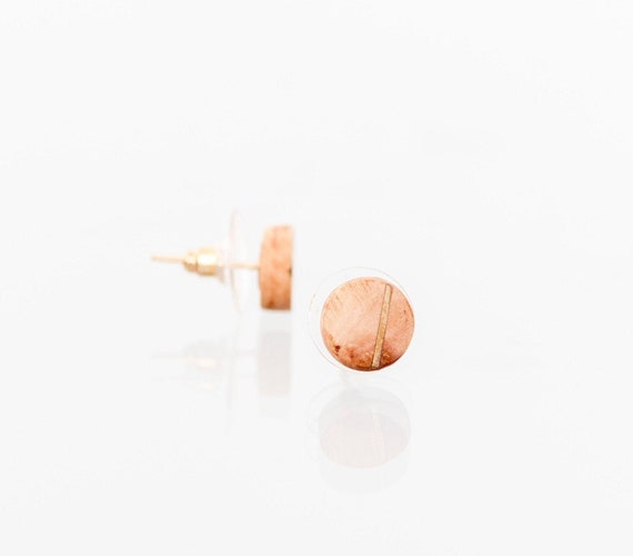 Wood and gold stud earrings for Valentine's day gift. Round recycled wood earring studs. Natural wood studs