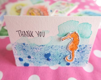 Thank You Cards Seahorse - Hand Painted Watercolor Ocean Card