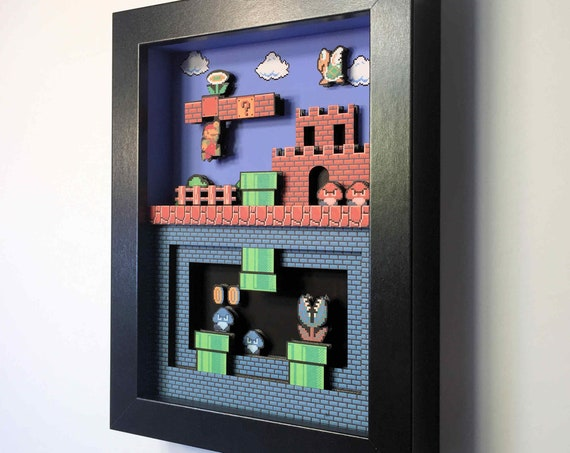 Super Mario Bros for Nintendo NES 3D shadowbox diorama 5x7 Gaming Decoration Mini