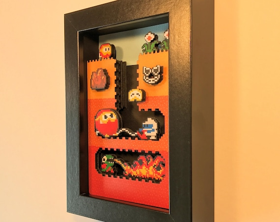 Dig Dug Shadowbox 4x6 Classic Retrogaming Art Shadow Box Diorama