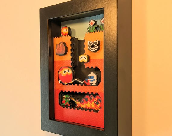 Dig Dug Shadowbox 5x7 Classic Retrogaming Art Shadow Box Diorama