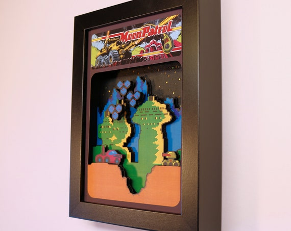 Moon Patrol Arcade 3D Shadow Box 5x7
