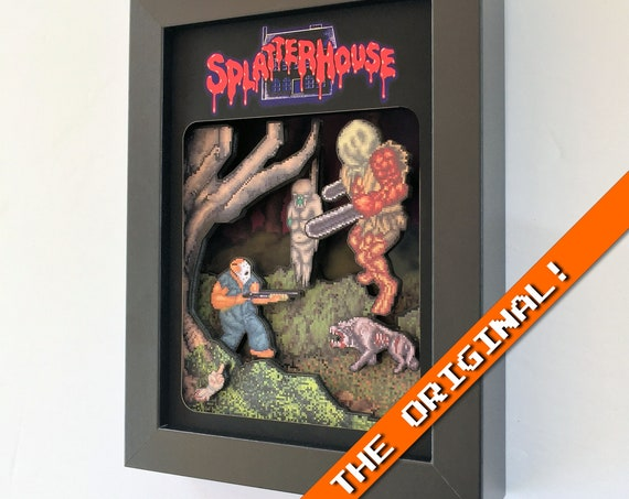 Splatterhouse 3D shadowbox diorama 5x7 Gaming Decoration (An original Glitch!) Sega Genesis horror video game Halloween