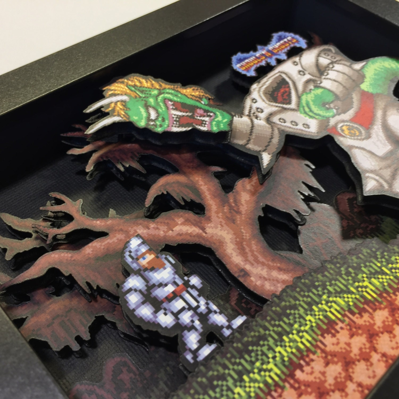 Ghouls N Ghosts 3d Shadow Box 5x7 Snes Nintendo