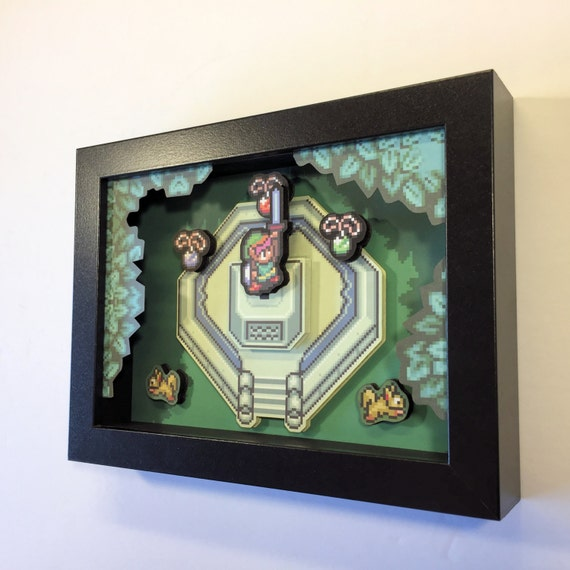 Zelda 3d Shadow Box With Master Sword From Legend Of Zelda A Link To The Past For Nintendo In 16 Bit Style 5x7