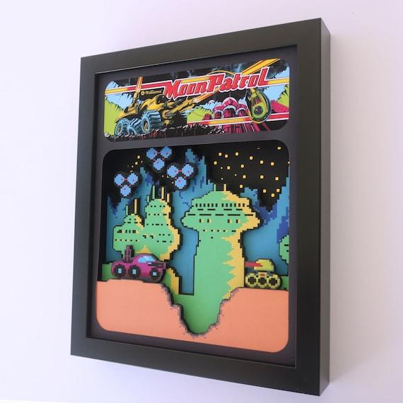 Moon Patrol Arcade 3D Shadow Box 8x10: An origianal Glitch Artwork!