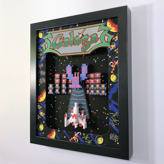 Galaga Arcade Game 3D Shadow Box 8x10 Diorama Game Room Decor by Glitch Artwork