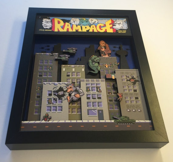 Rampage! Arcade Game 3D Shadow Box