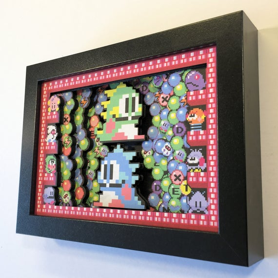 "Bubble Bobble 3D Arcade Shadow Box Mini 5"" x 7"""