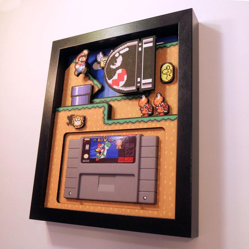 Super Mario World Shadow Box Cartridge Holder 8x10 image 0