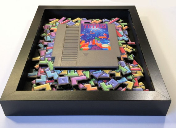 Tetris 3D Shadow Box with (optional) Replica Cartridge Holder in Ninendo / Arcade 8bit Style