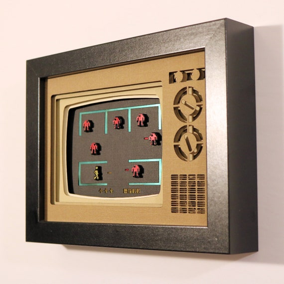 Berzerk Papercraft Shadowbox 5x7 Classic Retrogaming Art Atari