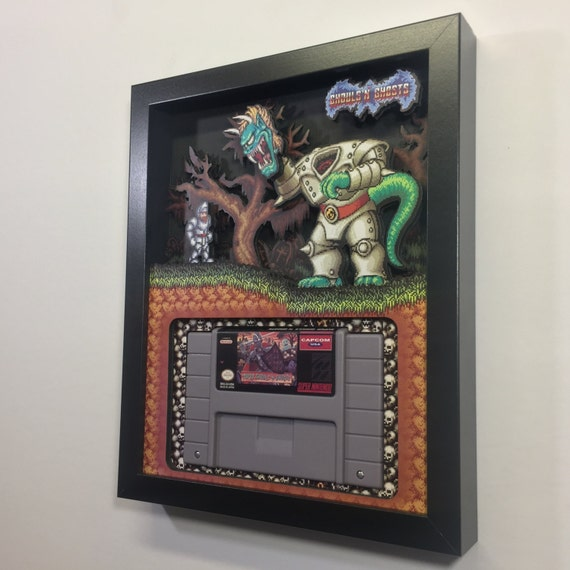 Ghouls 'n Ghosts 3D Shadow Box Cartridge Holder SNES Nintendo