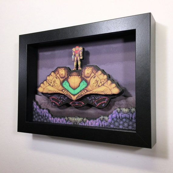 "Super Metroid 3D Mini Shadowbox 5""x7"" Super Nintendo"