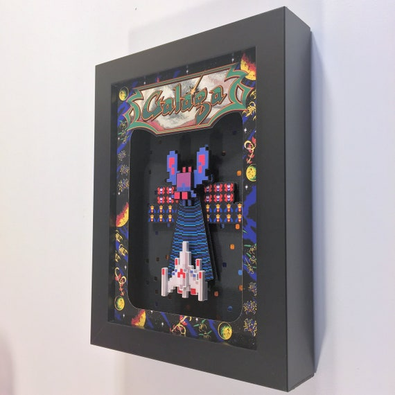 Galaga Arcade Game 3D Shadow Box 5x7 Diorama