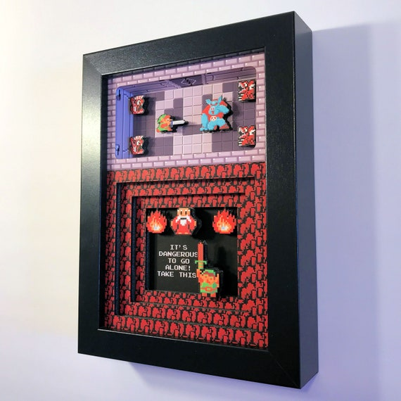 Legend of Zelda Shadow Box 5x7 NES Nintendo from Glitch Artwork