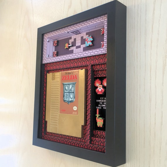 Legend of Zelda Cartridge Holder Shadow Box for NES with optional Replica Cart Nintendo