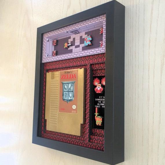 Legend of Zelda Cartridge Holder Shadow Box for NES with optional Replica Cart Nintendo by Glitch Artwork