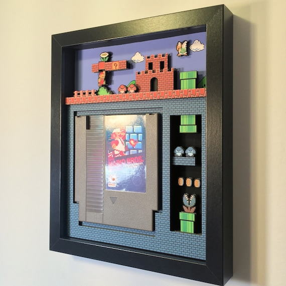 "Super Mario Bros. Shadow Box Cartridge Holder 8""x10"""