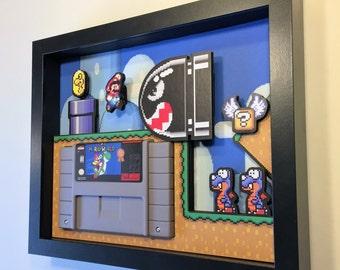 "Super Mario World Shadow Box Cartridge Holder 8""x10"""
