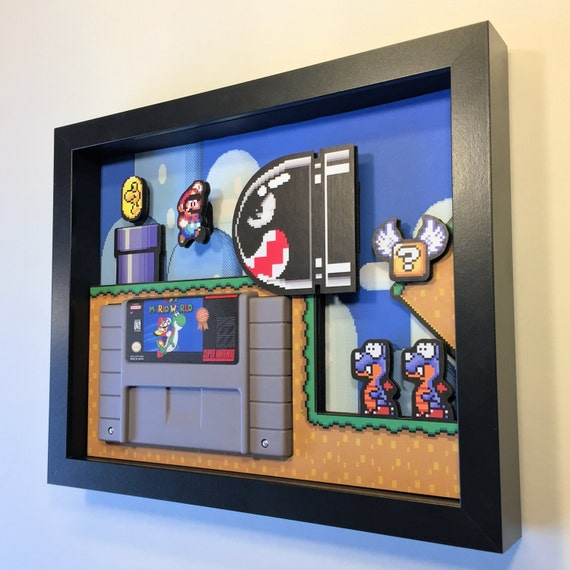 "Super Mario World Shadow Box Cartridge Holder 8""x10"""