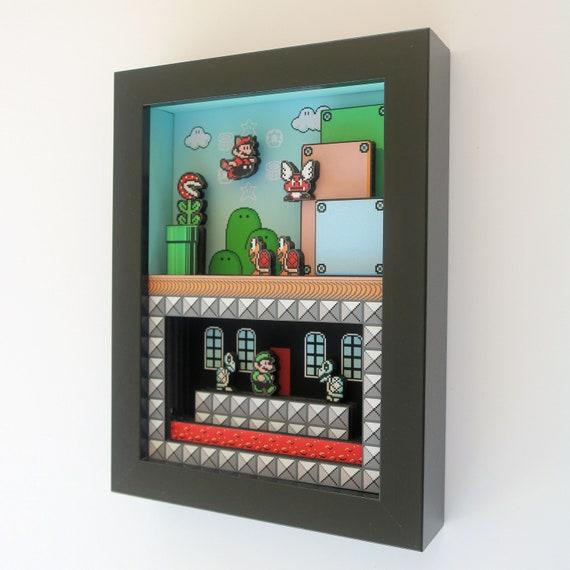 Super Mario Bros. 3 for Nintendo NES 3D shadowbox diorama 5x7 Gaming Decoration Mini by Glitch Artwork