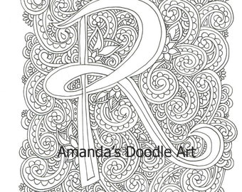 Monogram Letter R Coloring Page