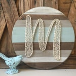 15in round. Monogram Initial String Art. Nail Art. Letter Art. Rustic Home and Wall Decor.