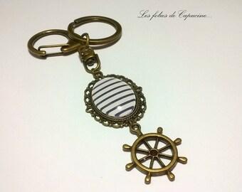 Keychain Cabochon sailor Navy blue • white • retro