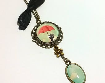 Necklace Cabochon • cat in the clouds necklace •