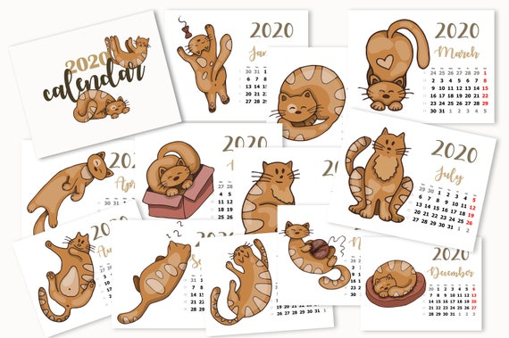 Calendrier Chat 2020.Calendrier 2020 Chats Imprimable Calendrier Mural Imprimable Calendrier Des Chats Aquarelles Calendrier Des Chats Imprimables Affiche Calendrier