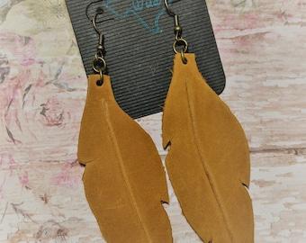 Leather Feather Earrings, Western, Southwestern, Boho Handmade Leather  Jewelry 710cabb509